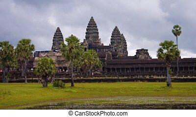 panoramique, cambodge, horizontal, angkor, wat., coup