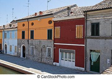 panoramique, comacchio., italy., emilia-romagna., vue