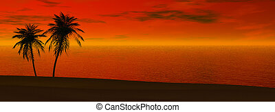 panoramique, coucher soleil