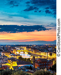 panoramique, coucher soleil, florence