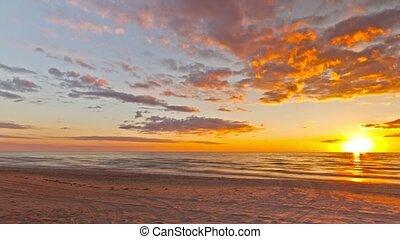 panoramique, coucher soleil, mer