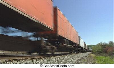 panoramique, dépassement, train, fret