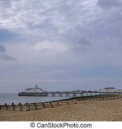 panoramique, eastbourne, jetée, vue