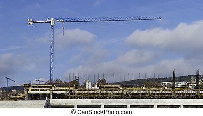 panoramique, grue, construction, isolé, vue