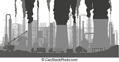 panoramique, industriel, silhouette, paysage.