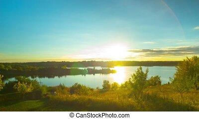 panoramique, lac, coucher soleil, temps