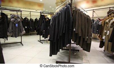 panoramique, manteau, fourrure, magasin