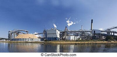 panoramique, moulin, papier, riverfront