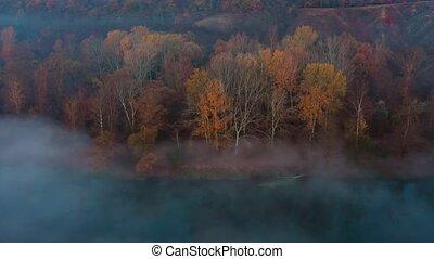 panoramique, nature, vue, automne