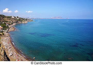 panoramique, ouest, vue, nord, sicile, littoral
