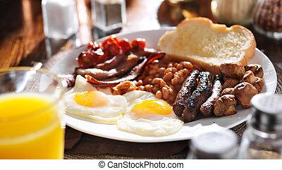 panoramique, petit déjeuner, entiers, composition, anglaise