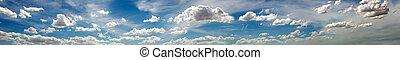 panoramique, photo, de, les, ciel, à, nuages