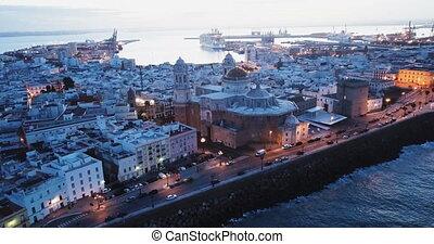 panoramique, port, espagne, éclairé, aube, ville, moyen-âge, cadiz, cathédrale, vue