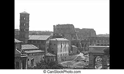 panoramique, romain, rome, archival, forum