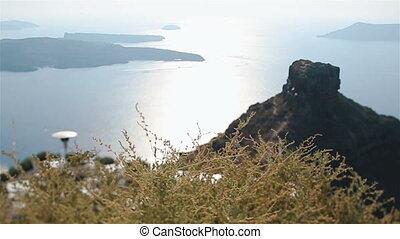 panoramique, surprenant, santorini, vue