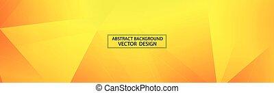 panoramique, vecteur, jaune, orange, triangles, -, fond