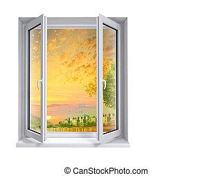 panoramique, vue fenêtre