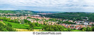 panoramique, wurzburg, bavière, paysage, vue
