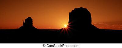 panoramisch, berühmt, denkmal tal, sonnenaufgang, ansicht