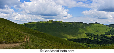 panoramisch, berg, bieszczady