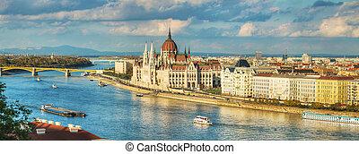 panoramisch, budapest, überblick