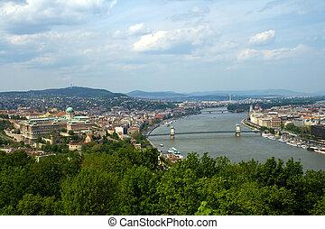 panoramisch, budapest, ansicht