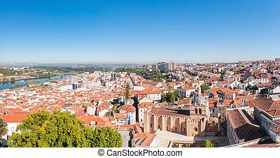 panoramisch, coimbra, portugal, ansicht