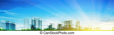 panoramisch, concept, stad