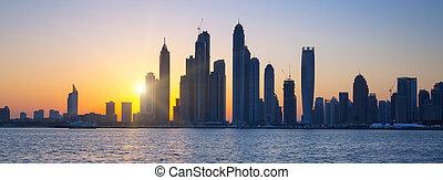 panoramisch, dubai, sonnenaufgang, ansicht