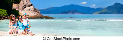 panoramisch, foto, van, gezin, op vakantie