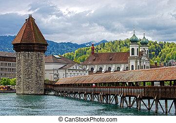 panoramisch, hölzern, berühmt, bedeckt, schweiz, luzerne, kapelle, bridge., brücke, ansicht