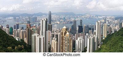 panoramisch, hong kong, aanzicht