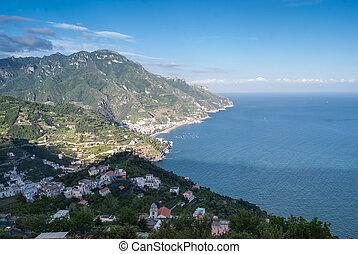 panoramisch, italië, positano., aanzicht