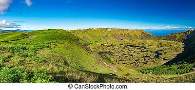 panoramisch, kau, krater, ganz, vulkanisch, orongo, rano, ...
