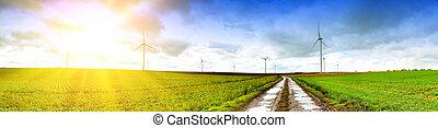 panoramisch, landschaftsbild, straße, land