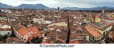 panoramisch, lucca, italië, aanzicht