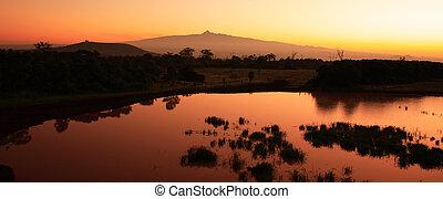 panoramisch, opstellen, aanzicht, zonopkomst, kenia
