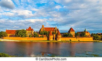 panoramisch, polen, kasteel, aanzicht, teutonic, malbork