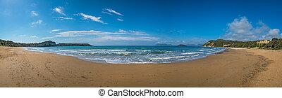 panoramisch, sandstrand, gerakas, ansicht