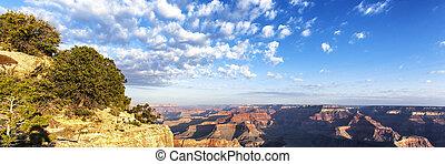 panoramisch, schlucht, ansicht, sonnenaufgang, großartig