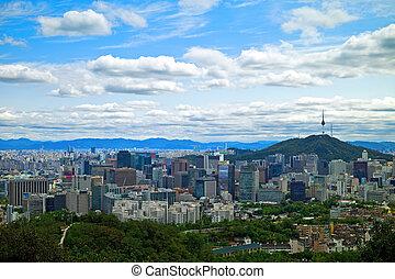 panoramisch, seoul, korea zuiden, aanzicht