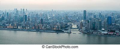 panoramisch, shanghai, bund, ansicht