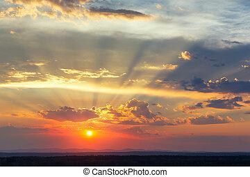 panoramisch, sonnenuntergangshimmel, ansicht