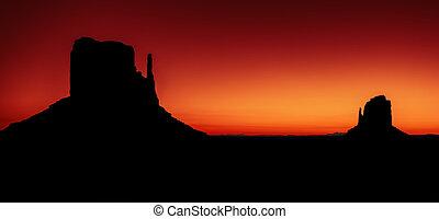 panoramisch, tal, ansicht, sonnenaufgang, denkmal