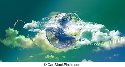 panoramisch, technologie, wolke, rechnen
