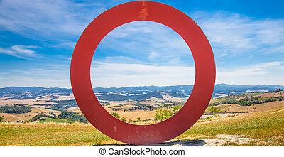 panoramisch, tuscany, aanzicht