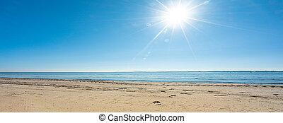 panoramisch, wetter, sandstrand, am besten, ansicht