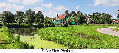 panoramische ansicht, auf, niederländisch, village.