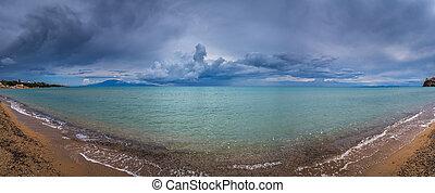 panoramische ansicht, sandstrand, tsilivi