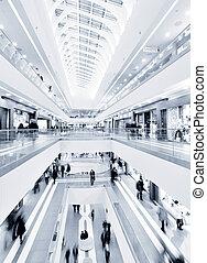 panoramische ansicht, von, a, modern, einkaufszentrum